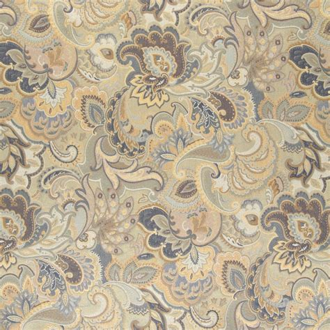 Floral Upholstery Fabric by Blue White And Gold Abstract Floral Upholstery Fabric By