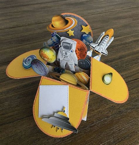 outer space explosion box card birthday cards