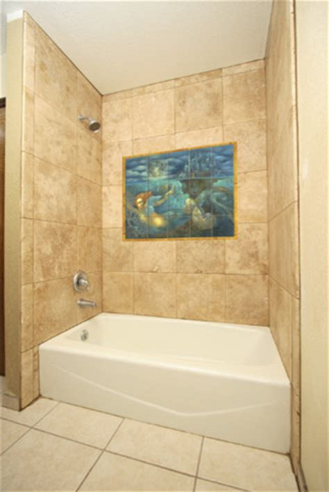 Mermaid Tile Mural in Shower   Contemporary   Bathroom