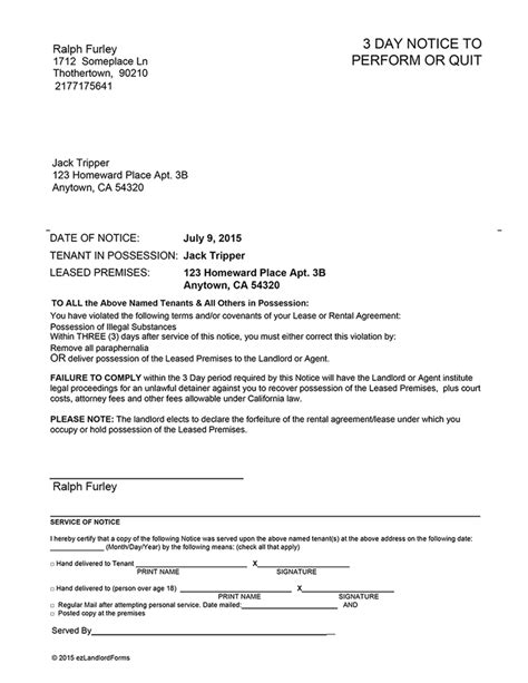 three day eviction notice blank template mississippi california 3 day notice to perform or quit ez landlord