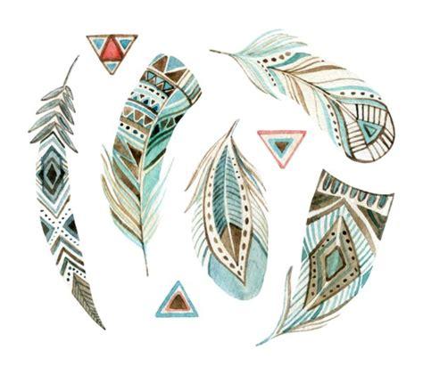 aztec tribal feathers watercoloured custom wallpaper