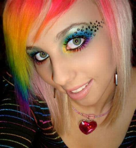 My Hair Is Emo Rainbow Hair Color Girl