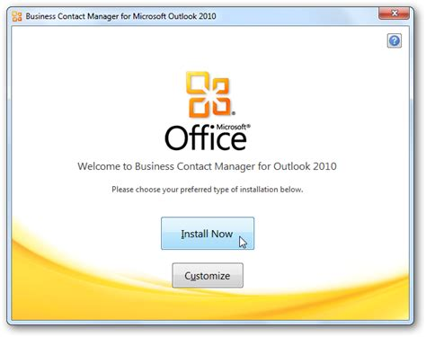 installation bureau getting started with outlook business contact manager 2010