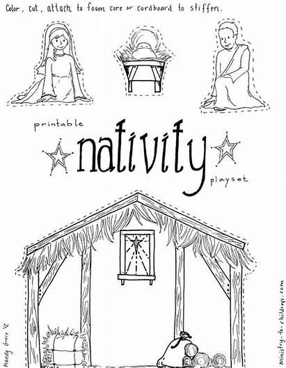 Nativity Printable Craft Children Jesus Coloring Manger