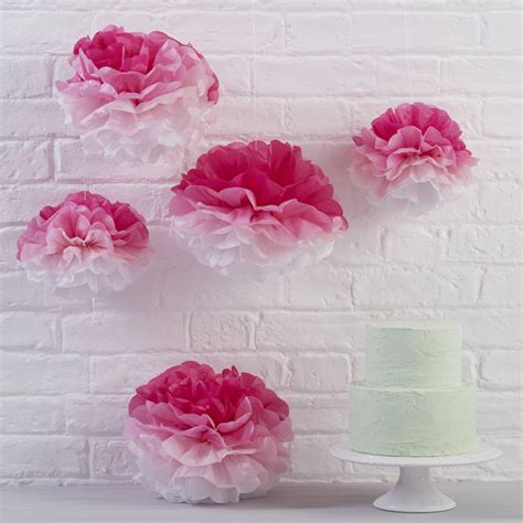 Pink Ombre Tissue Paper Pom Poms By Ginger Ray