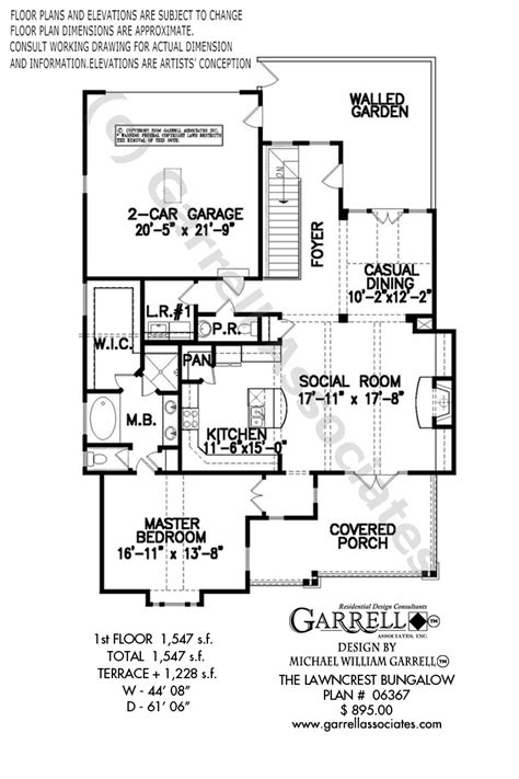 lawncrest bungalow house plan  garrell associates