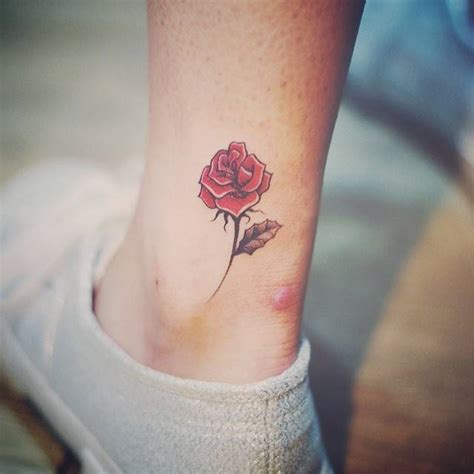 rose tattoo  ankle creativefan