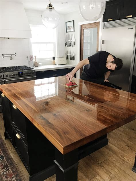 How To Refinish Butcher Block Countertops by How We Refinished Our Butcher Block Countertop Chris