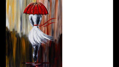 girl   rain umbrella art beginner acrylic