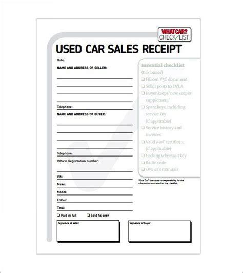 Car Sale Receipt. , Receipt Template Doc For Word