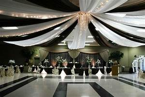 dramatic black and white ceiling draping with lights With black ceiling drapes