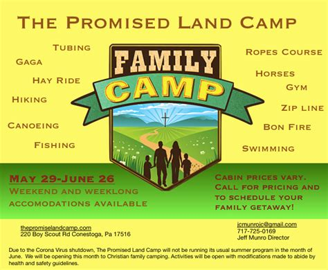 promised land christian camp home facebook