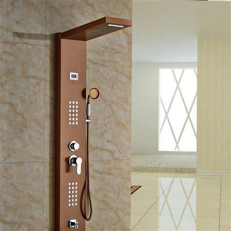 aspen rose gold massage shower panel system  shower