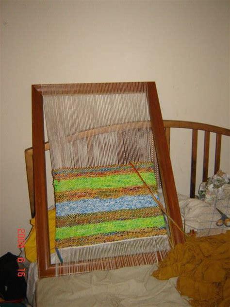 frame loom rag rug  rag rug weaving  cut