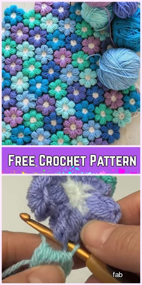 crochet puff stitch flower blanket  pattern video