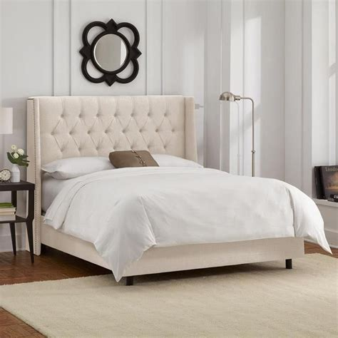 california king nail button tufted wingback bed  linen