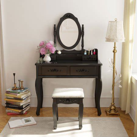 makeup vanity set walmart belleze wood make up vanity table and stool set bedroom