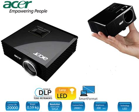 acer k11 dlp 200 ansi lumen multimedia led projector pch