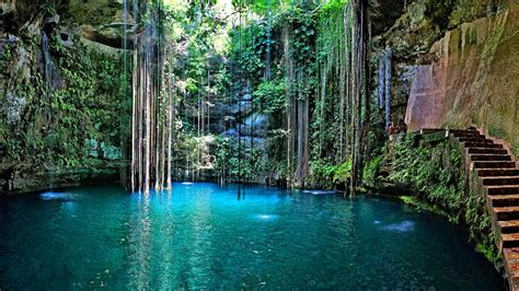 ik kil cenote wallpaper  cancun mexico travel