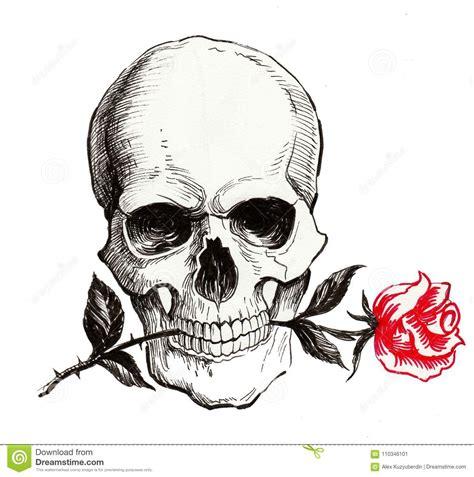 skull   red rose stock illustration illustration  tattoo