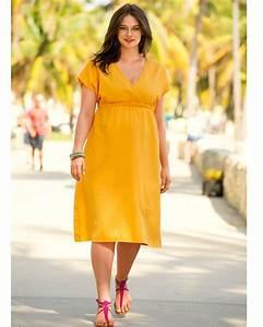 robe mi longue grande taille orange jaune forme empire With robe mi longue grande taille
