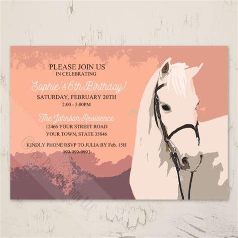 white pony birthday party invitation  pk horse