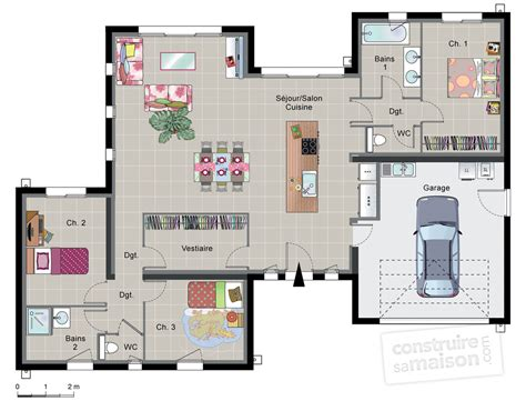 plan de maison contemporaine 4 chambres maison contemporaine de plain pied dé du plan de