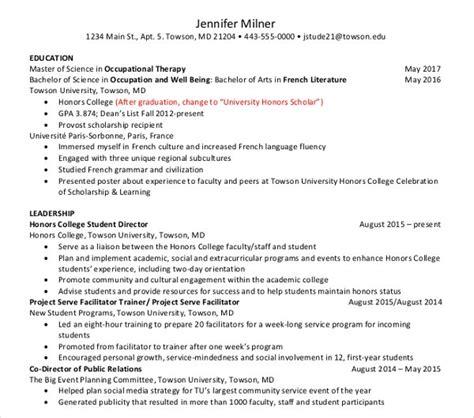 sample college resume templates psd