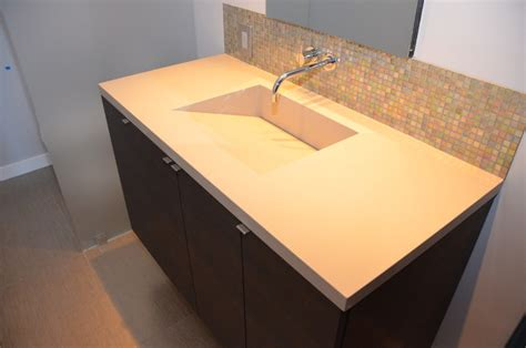 quartz countertop with integrated sink quartz integrated sinks modern vanity tops and side