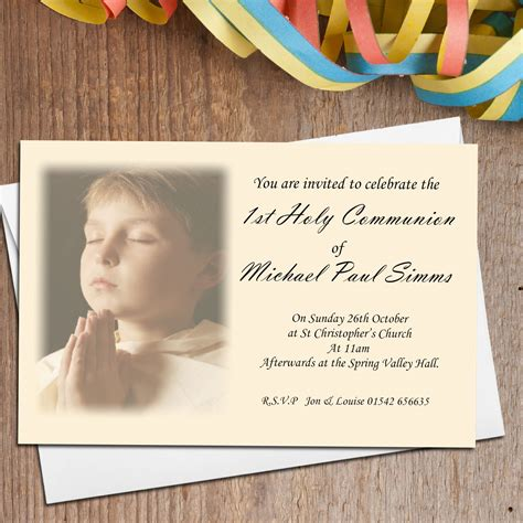 10 Personalised 1st First Holy Communion PHOTO Invitations N16
