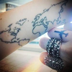 Travel tattoo. Airplane+map. | Tattoos and Quotes ...