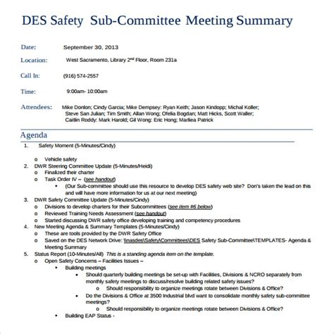sample meeting summary template   documents