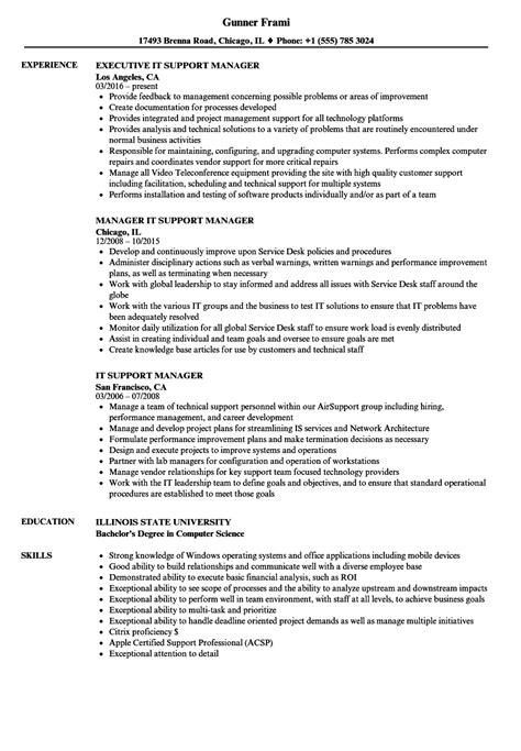 It Manager Resume Exles by It Support Manager Resume Sles Velvet