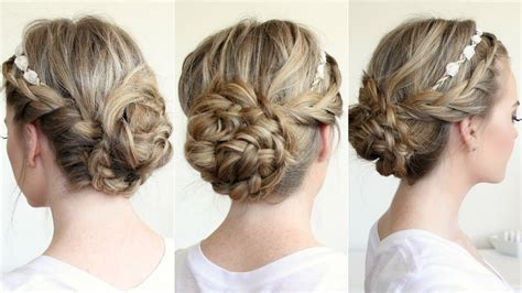 braided updo   flower crown youtube