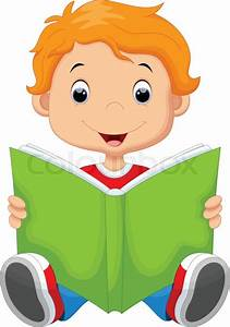 Vector illustration of kid reading a book | Stock Vector ...