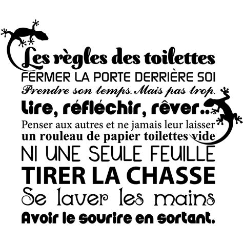 sticker citation les r 232 gles des toilettes stickers toilettes porte ambiance sticker