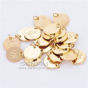 pick 10 pcs from 16mm a z gold plated disc charm hand With gold plated letter charms