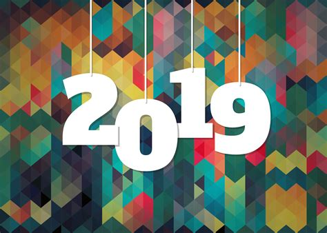 Colorful Background For 2019 New Year Celebration