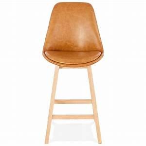Chaise Mi Hauteur : tabouret de bar chaise de bar mi hauteur design daivy mini marron clair ~ Teatrodelosmanantiales.com Idées de Décoration