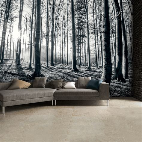1wall Black And White Forest Trees Mural Wallpaper 315cm