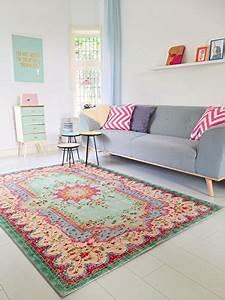 Teppich Im Wohnzimmer : pastell vintage teppich im angesagten shabby chic look f r wohnzimmer schlafzimmer flur ~ Frokenaadalensverden.com Haus und Dekorationen