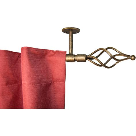 wire twist ceiling mount curtain rod antique gold