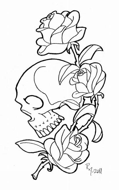 Skull Roses Coloring Pages Rose Drawing Printable