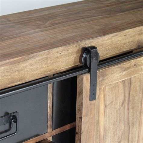 buffet industriel porte coulissante bois naturel made in