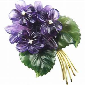 14k Bouquet of Violets Brooch with Carved amethyst Diamond ...