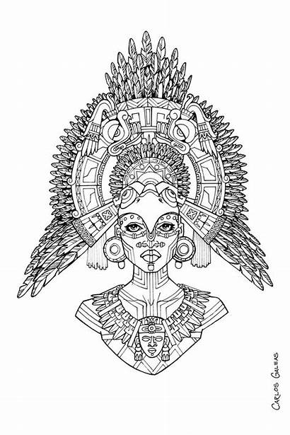 Coloring Pages Queen Mayan Deviantart Books Adult