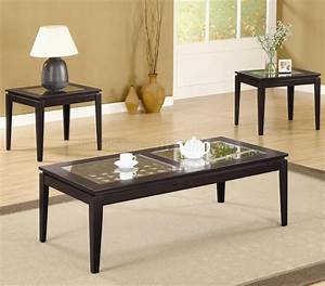 dark walnut finish modern 3pc coffee table set w weave design With modern coffee table and end table set