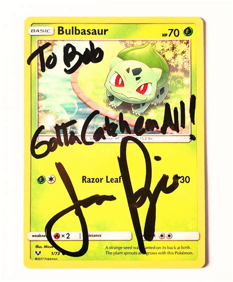 45 hit points 49 attack 49 defense 65 special 45 speed Autographed Bulbasaur Card Limited Supply - JasonPaige.com