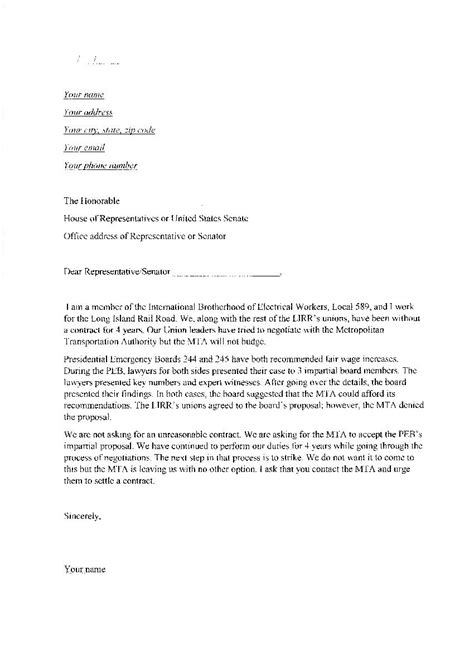 letter to senator template union forms ibew local union 589