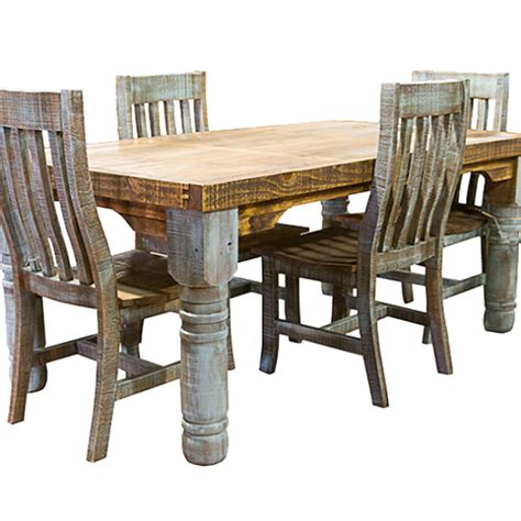 rustic turquoise colorwash dining table chairs